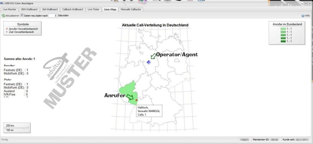 Live Map - Anruferherkunft+Ziel